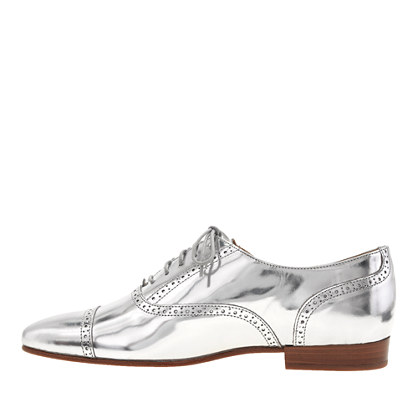 jcrew mirror metallic oxford