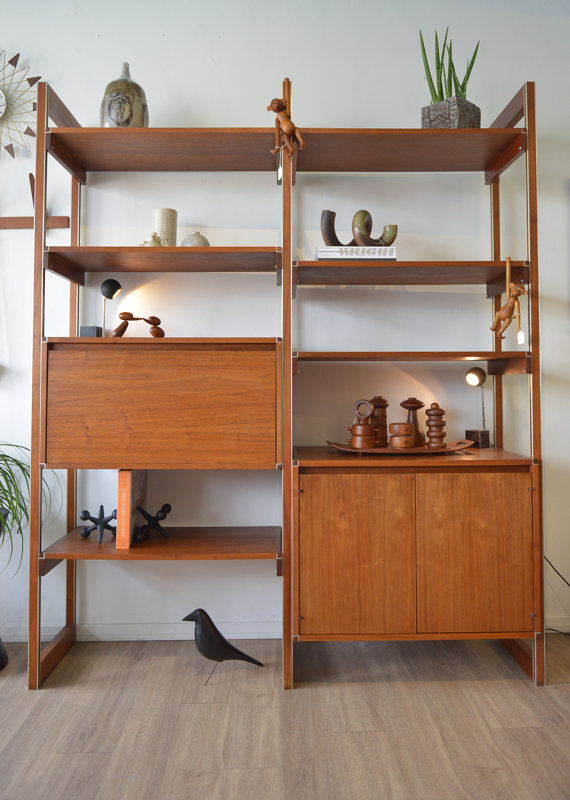 midcentury wall unit via the modern vault