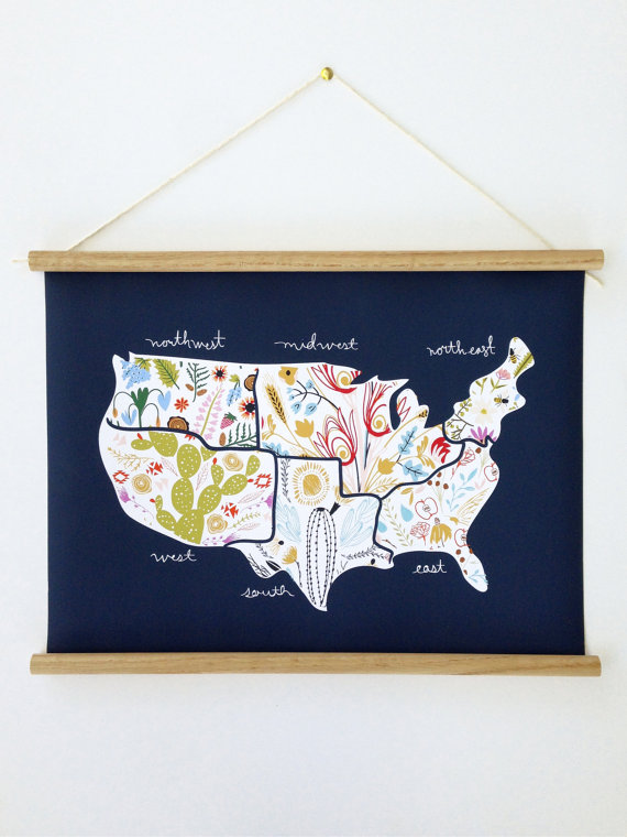 American Map floral little low studio on etsy