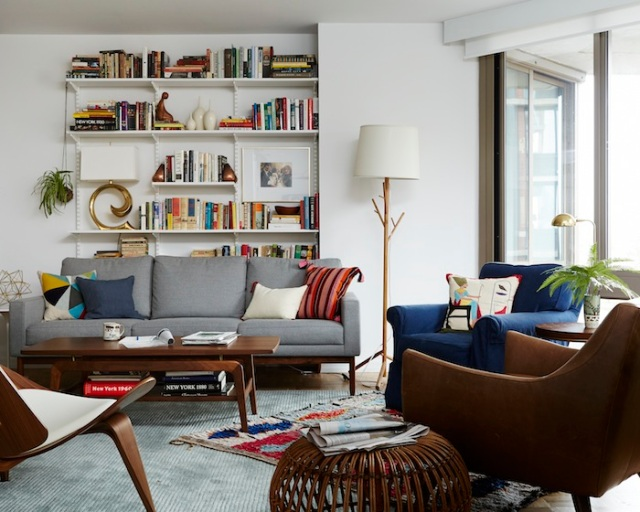 emily henderson layered rugs in joanna goddard living room