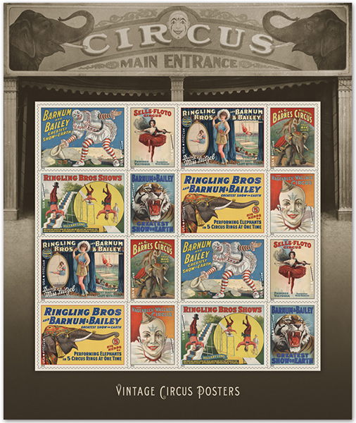 usps vintage circus stamps