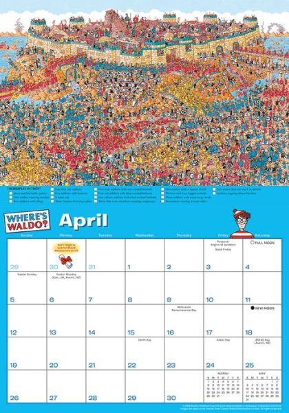 where's waldo wall calendar